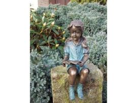 Beeld brons - Lezend Meisje - Bronzartes - 20 cm hoog - voor huis en tuin