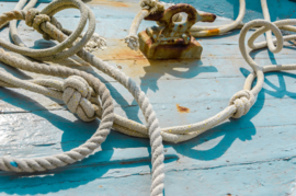 Schilderij Dibond - Touwen Blauwe Haven