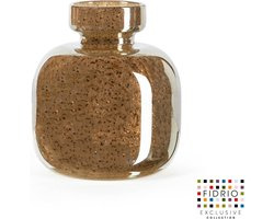 Design vaas olympia Small - Fidrio BRONZE - glas, mondgeblazen bloemenvaas - hoogte 14,5 cm
