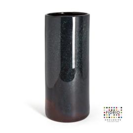 Design vaas Fidrio - glas kunst sculptuur - cilinder - Moonlight - mondgeblazen - 39 cm hoog
