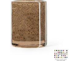 Design vaas Cilinder small - Fidrio BRONZE - glas, mondgeblazen bloemenvaas - diameter 9 cm hoogte 11 cm