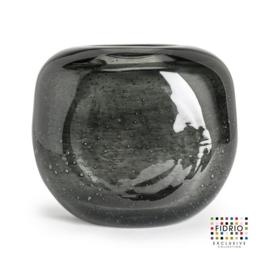 Design vaas Fidrio - glas kunst sculptuur - coco - Smokey - mondgeblazen - 21  cm hoog