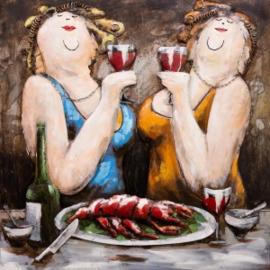 100 x 100 cm - 3D art Schilderij Metaal dikke dames - handgeschilderd