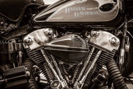 90 x 60 cm - Glasschilderij Harley - schilderij glaskunst - Harley Davidson Motor - foto print op glas