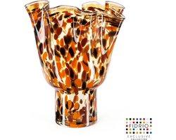 Design vaas Wave on base - Fidrio Havanna - glas, mondgeblazen bloemenvaas - hoogte 40 cm