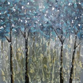 100 x 100 cm - Olieverfschilderij - Blauwe Bomen - natuur - natuur handgeschilderd