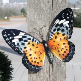 Wanddecoratie 3D metaal vlinder oranje/zwart
