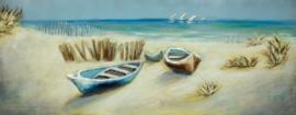 60 x 150 cm - 3D art Schilderij Metaal -  Strand - handgeschilderd