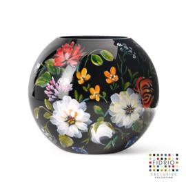 Design vaas Fidrio - glas kunst sculptuur - royal flowers - handgeschilderd - 40 cm diep