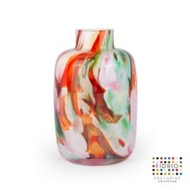 Design vaas Fidrio - glas kunst sculptuur - toronto - Mixed colours - mondgeblazen - 12,5 cm hoog --