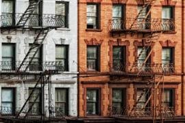 120 x 80 cm - Glasschilderij stadsgezicht gebouw - schilderij fotokunst - Manhattan - New York - foto print op glas