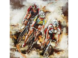 100 x 100 cm - 3D art Schilderij Metaal - Racefietsers - handgeschilderd