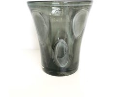 Design vaas Sidney - Fidrio Grey Cloudy - glas, mondgeblazen - diameter 24 cm hoogte 25 cm