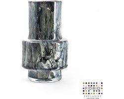 Design vaas Nuovo - Fidrio NERO - glas, mondgeblazen bloemenvaas - diameter 7,5 cm hoogte 18 cm