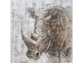 100 x 100 cm - Olieverf schilderij - schilderij neushoorn - handgeschilderd