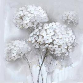 60 x 60 cm - Olieverfschilderij 2-luik - witte bloemen