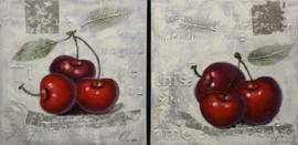 60 x 60 cm - Olieverfschilderij 2-luik - Kersen