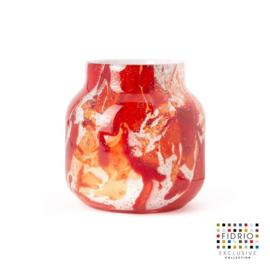 Design vaas Fidrio - glas kunst sculptuur - bloom - Rosso - mondgeblazen - 15 cm hoog --