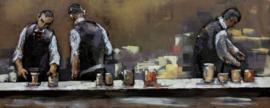 150 x 60 cm - 3D art Schilderij Metaal - In de bar - handgeschilderd