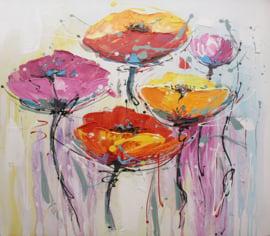 100 x 100 cm - Olieverfschilderij - Oranje Bloemen - natuur handgeschilderd