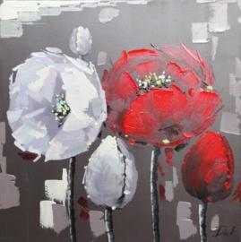 80 x 80 cm - Olieverfschilderij - Bloemen - handgeschilderd