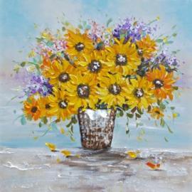 100 x 100 cm - Olieverfschilderij - Bloemen - handgeschilderd