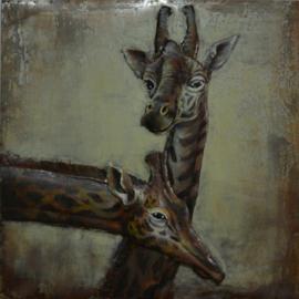 100x100 cm 3D art Schilderij Metaal Giraffen - handgeschilderd