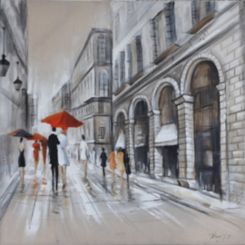100 x 100 cm - Olieverfschilderij - Winkelstraat - stadsgezicht handgeschilderd