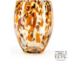 Design vaas Oval - Fidrio Havanna - glas, mondgeblazen - diameter 18 cm hoogte 25 cm --