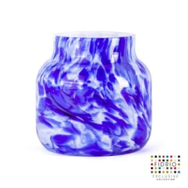 Design vaas Fidrio - Bloom Delfts blue - gekleurd glas - mondgeblazen - 15 cm hoog