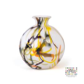 Design vaas Fidrio - glas kunst sculptuur - bolvase - Spirelli - mondgeblazen - 19 cm diep