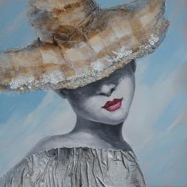 Olieverfschilderij - Figuratief Vrouw Hoed - 100x100 cm