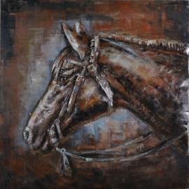 80x80 cm - 3D art Schilderij Metaal Paardenhoofd - metaalschilderij - handgeschilderd