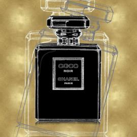 80 x 80 cm - Glasschilderij - schilderij - Chanel parfum fles - foto print op glas