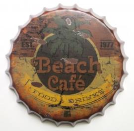 rond 35 cm - Wanddecoratie schilderij bierdop kroonkurk - Beach Cafe