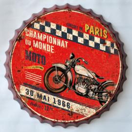 rond 33 cm - Wanddecoratie schilderij bierdop kroonkurk - reclame Motorcross Parijs 1966