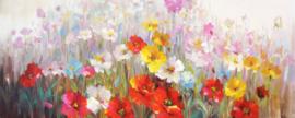 150 x 60 cm - Olieverfschilderij - Bloemen - handgeschilderd