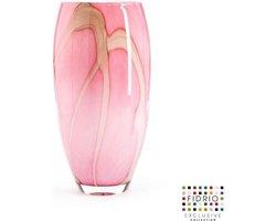 Design vaas oval - Fidrio PINK FLAME - glas, mondgeblazen bloemenvaas - diameter 0 cm hoogte 30 cm