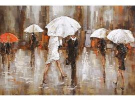 150 x 60 cm - 3D art Schilderij Metaal - Paraplu Mensen - handgeschilderd