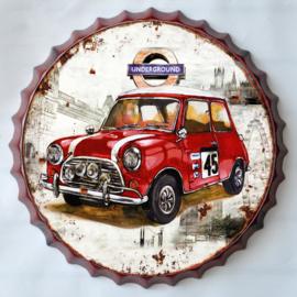 rond 33 cm - Wanddecoratie schilderij bierdop kroonkurk - reclame Auto Mini Cooper oldtimer