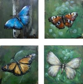 40 x 40 cm - 3D art Schilderij Metaal - vlinders - handgeschilderd