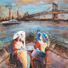 100 x 100 cm - 3D art Schilderij Metaal Varen - New York - metaalschilderij - stadsgezicht handgeschilderd