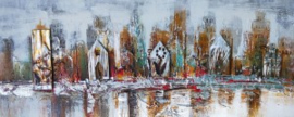 Olieverfschilderij - Abstracte stad - 60x150 cm