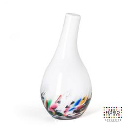Design vaas Fidrio - glas kunst sculptuur - Pisa - coral - mondgeblazen - 18 cm hoog --