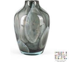 Design vaas sorobon - Fidrio Grey Cloudy - Bloemenvaas glas, mondgeblazen - Ø 20 cm hoogte 28 cm