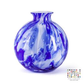 Design vaas Fidrio - Bolvase Delfts blue - gekleurd glas - mondgeblazen - 23 cm diep --