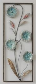 28 x 37 cm - wanddecoratie schilderij metaal - Frame Art - Abstract - Kunst - Bloemen