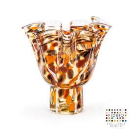 Design vaas Fidrio - glas kunst sculptuur - Havanna - Wave on base - mondgeblazen - bloemenvaas - 25 cm hoog --