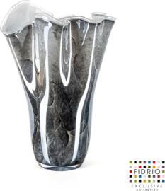 Design vaas Wave - Fidrio NERO zwart - bloemenvaas - glas, mondgeblazen bloemenvaas - hoogte 35 cm --