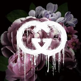 120 x 120 cm - 3D glasschilderij - Roze bloemen  - schilderij fotokunst - foto print op glas --